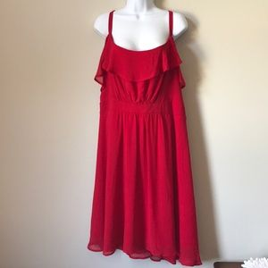Torrid Red Ruffles Midi Spaghetti Strap Dress